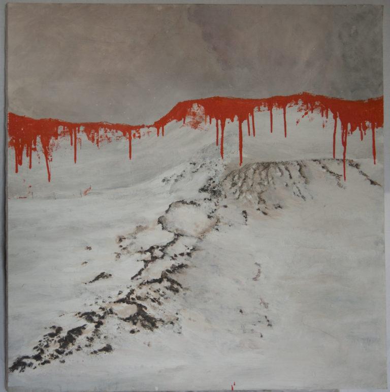 Aranciazione - Mixed media on canvas 100x100 cm