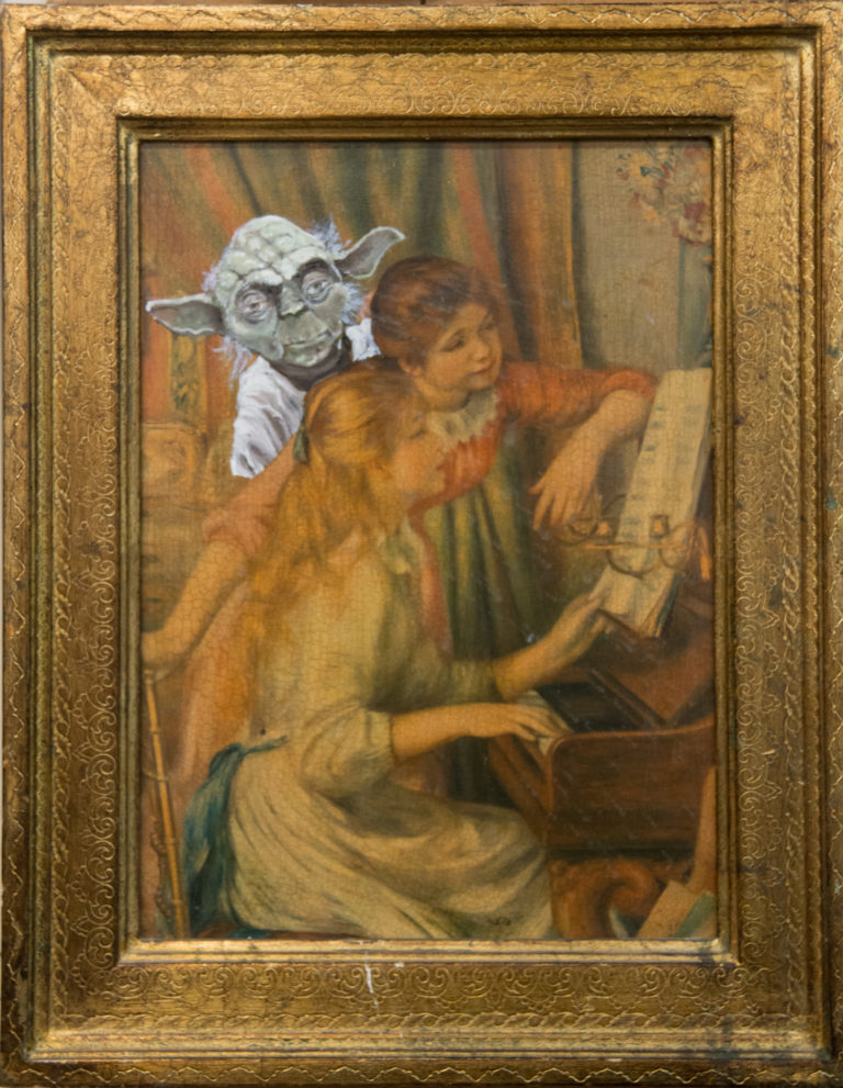 Yoda e le sorelle - Oil on reproduction of a painting (38x49 cm)