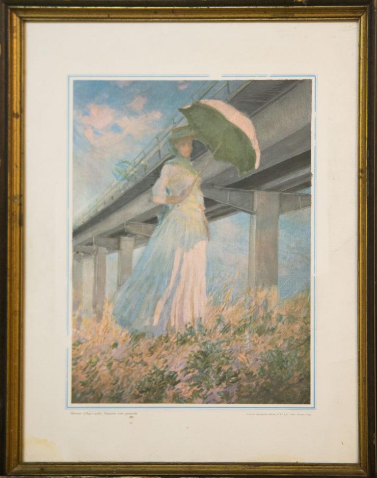 Donna con paracarro - Watercolor on print (31x23 cm)