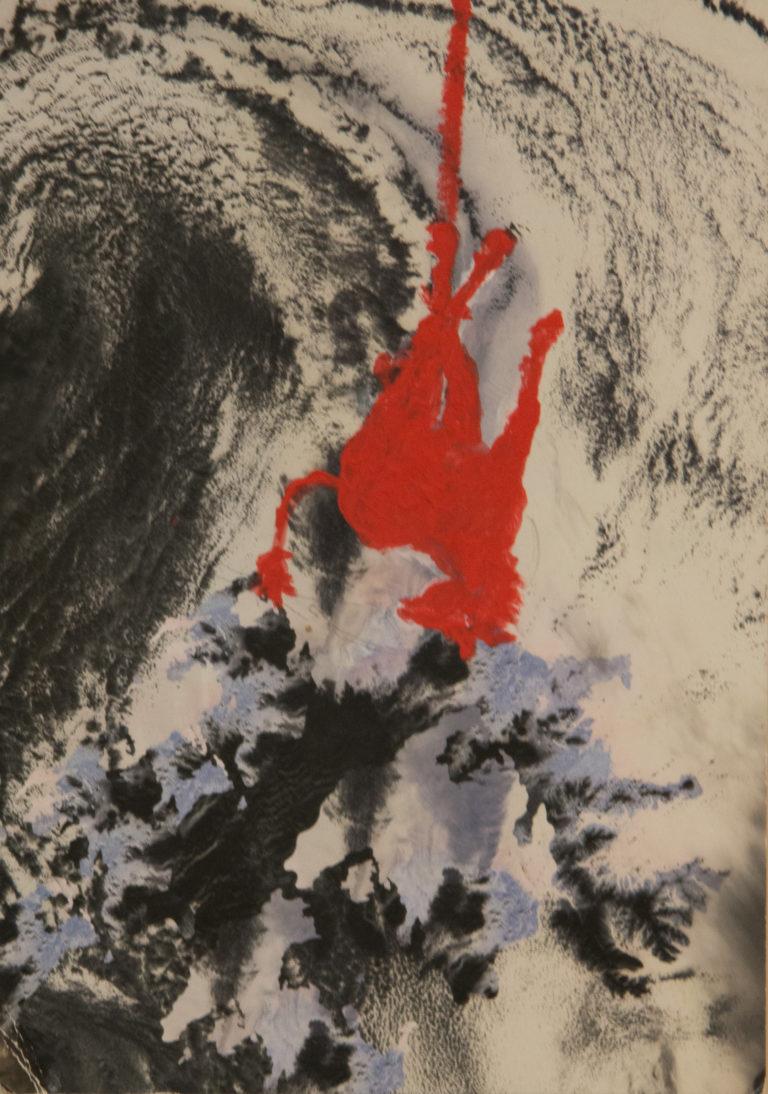 Asino rosso - Tempera on postcard (31x15 cm)